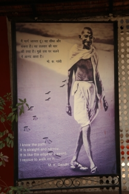 Gandhiji on one of               his walks