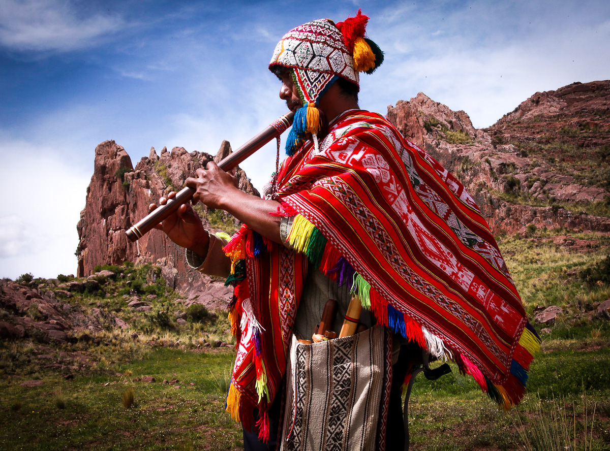 Peru W flute player at Amara Muru.jpg