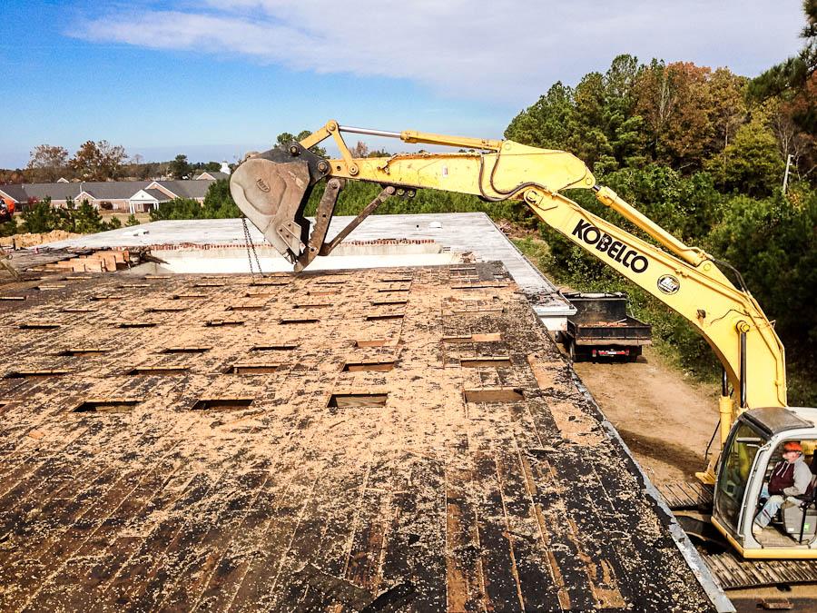 Demolishing 100-year-old school in Coats, NC.