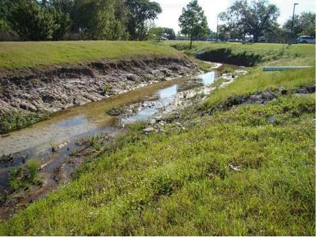 Eroding stream after Hurricane Fay.