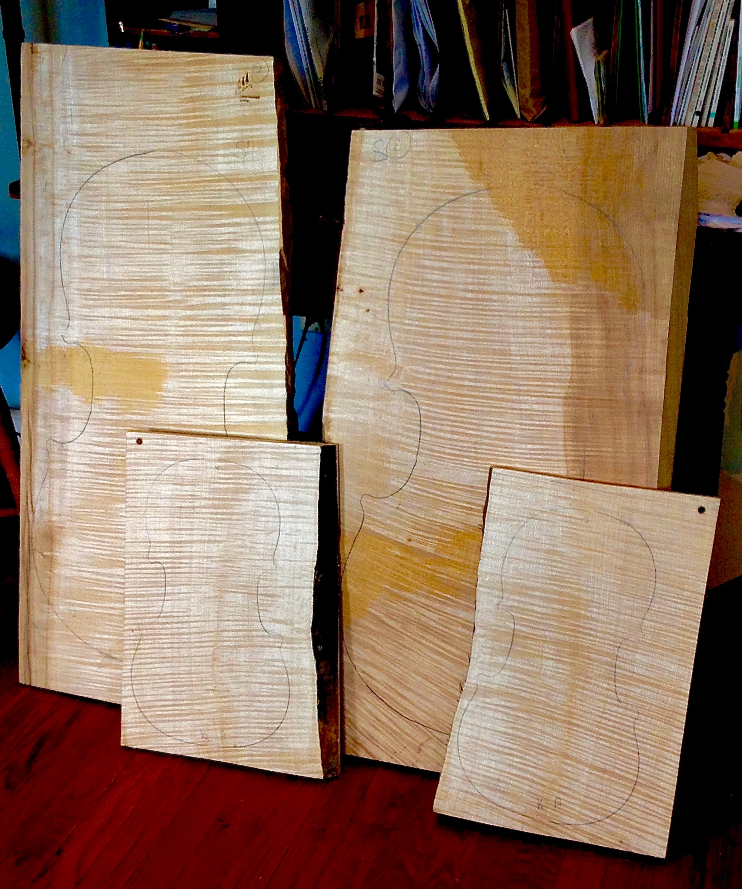 A pair of extremely rare one-piece quarter cut maple cello backs. And with them, matching viola backs. I alos have violin backs to match -- the wood for two quartets.