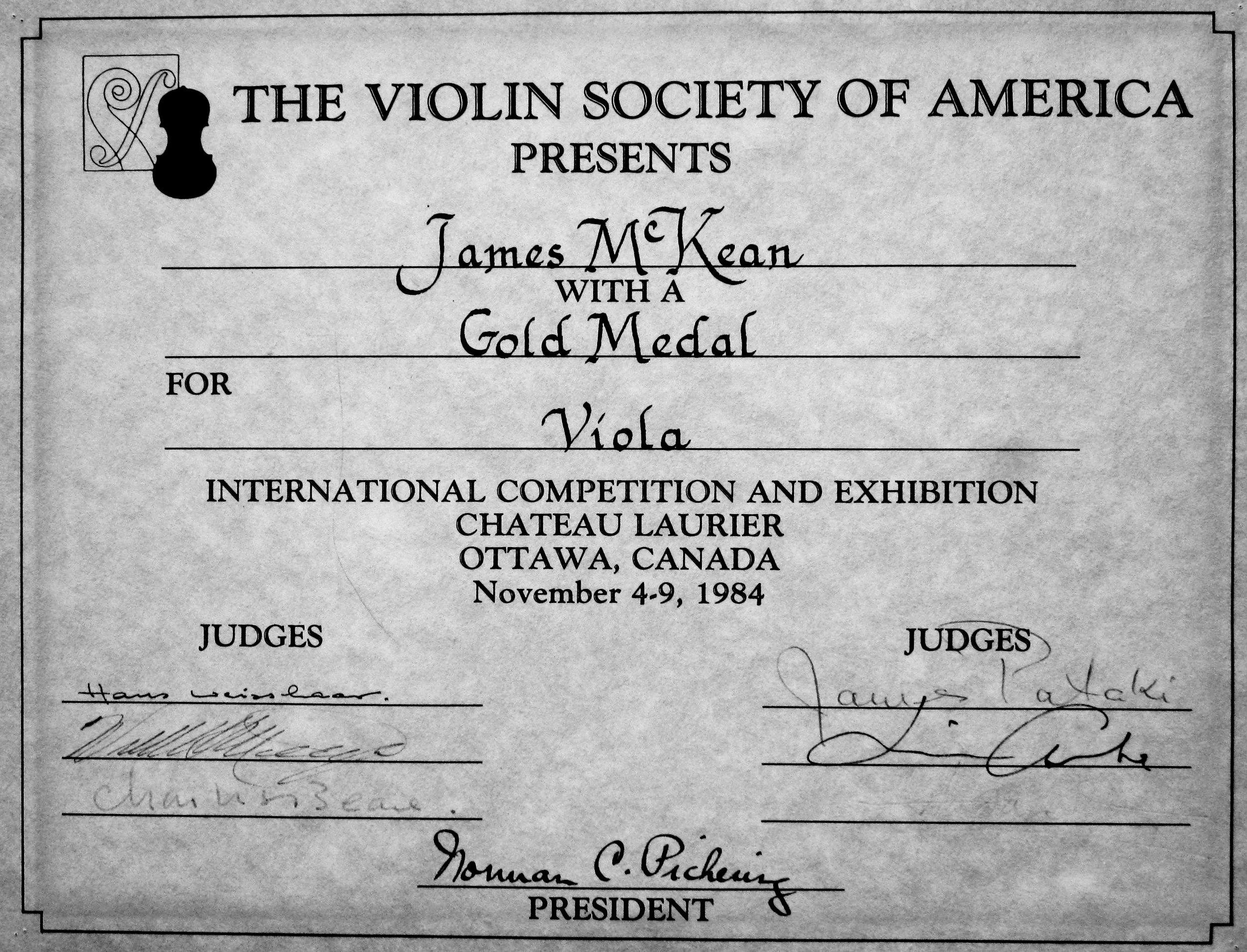 signed award certificate