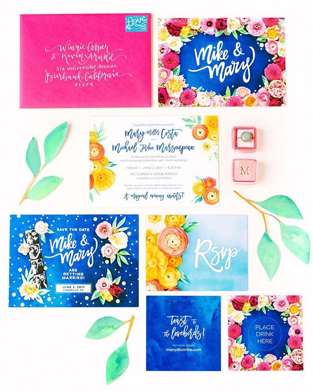 It was truly a pleasure to create these wedding invitations for my dear friends, Mike & Mary. Collaborating with @marycostaphoto and @shindigchic made it even more fulfilling! Check out the entire wedding on @greenweddingshoes 💕