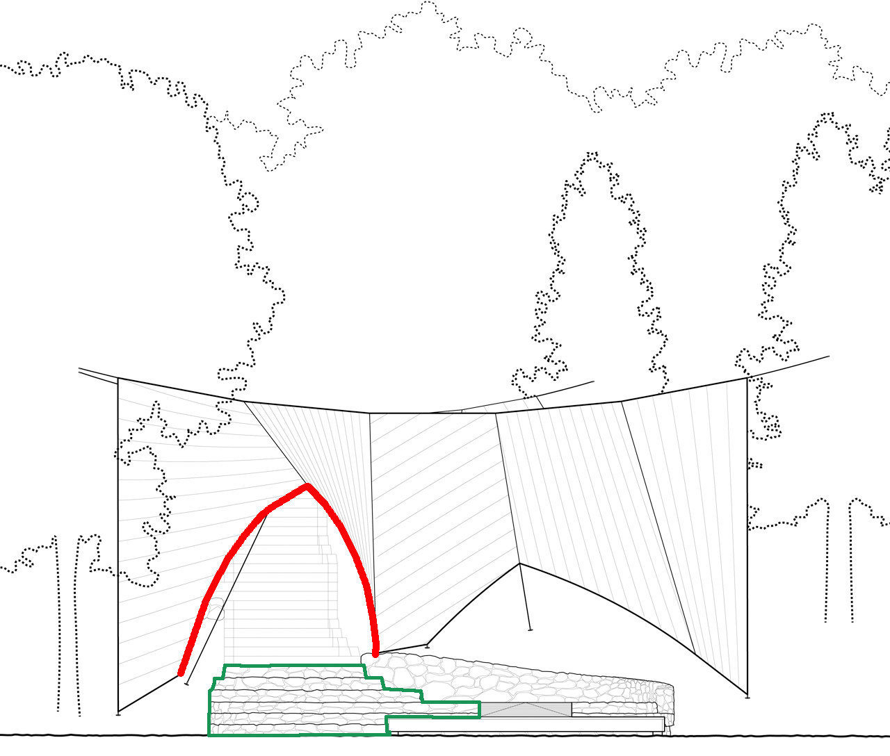 Image courtesy of Mark Talbot and Tyler Survant. Temporary Pavilion Elevation. Image fromhttp://www.archdaily.com.