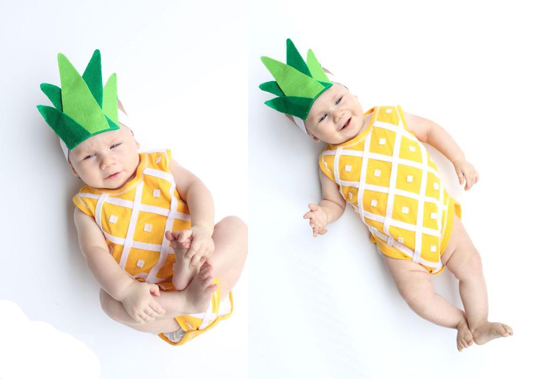 No Sew Pineapple Baby Costume  vía  LINES ACROSS