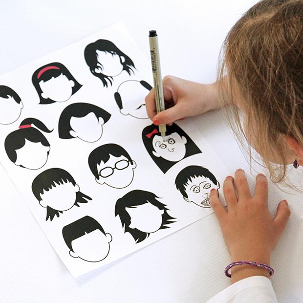 Blank faces coloring page 1.0  {vía dabblesandbabbles }