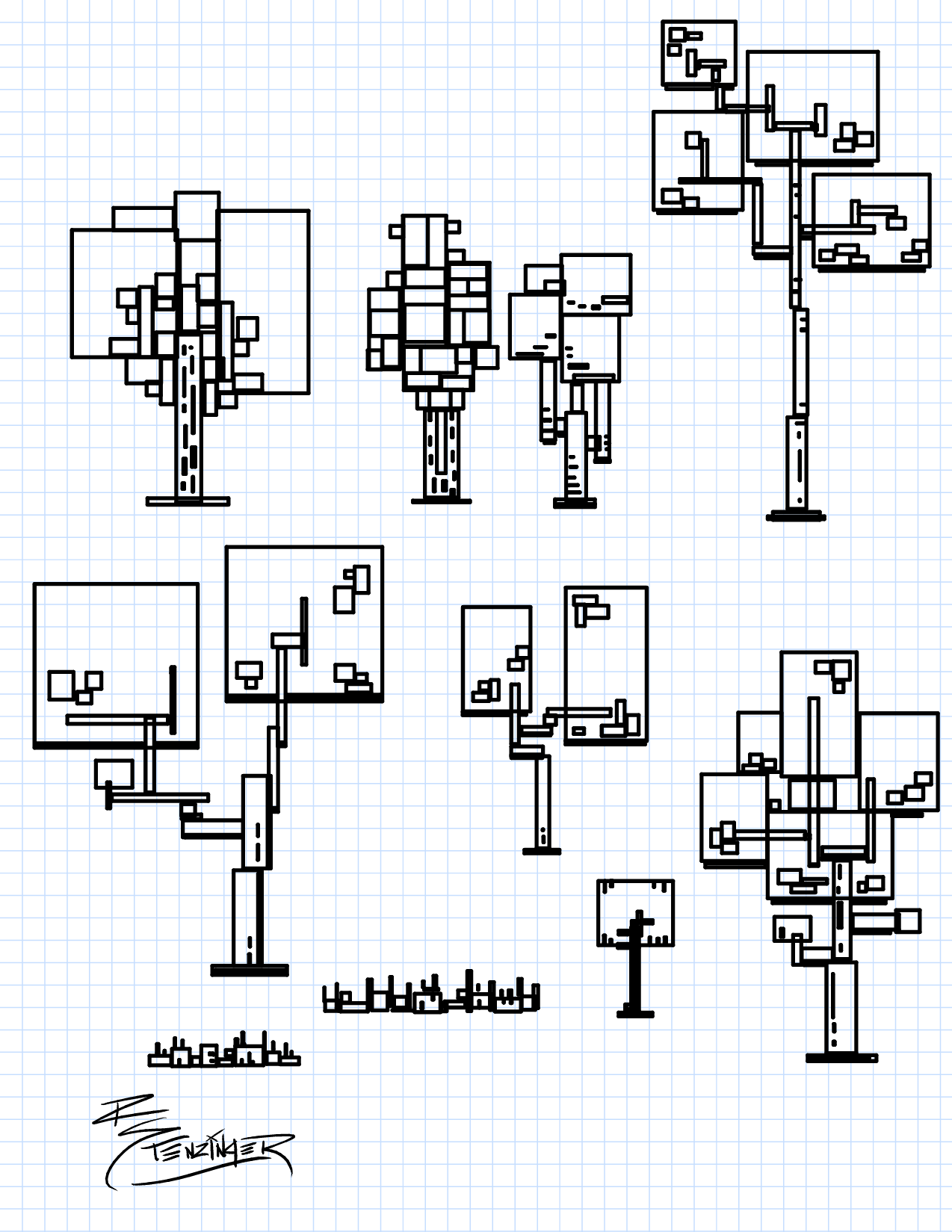 Exploring how I could draw trees using only rectangles.