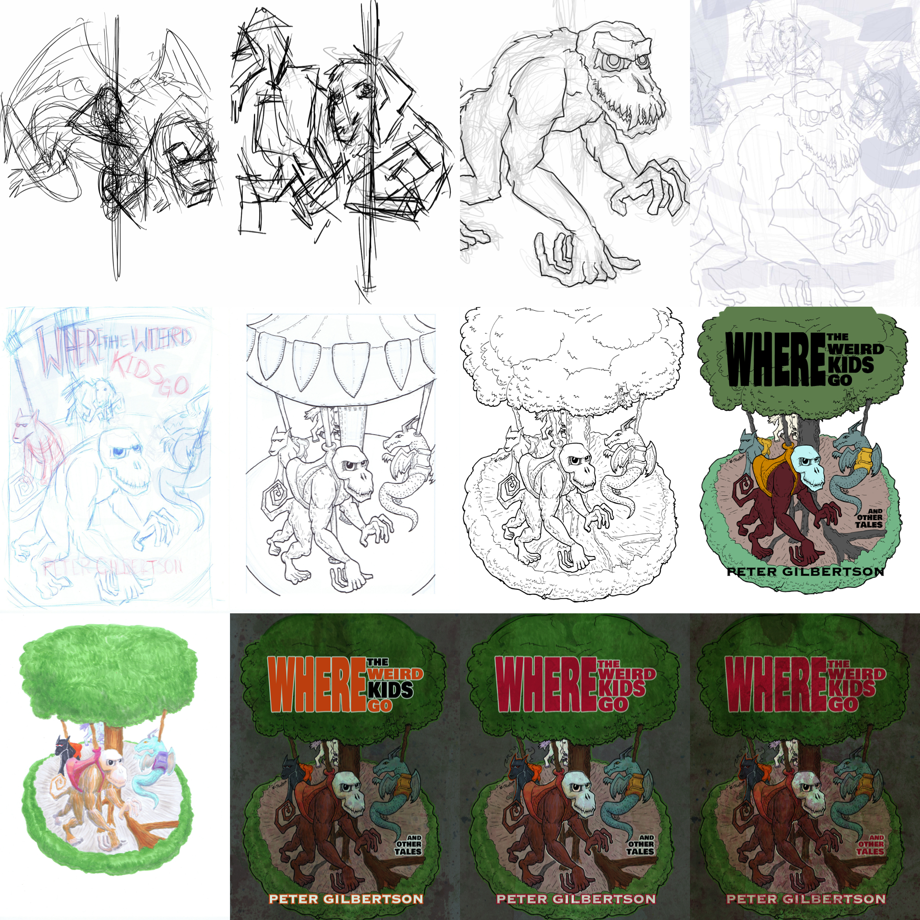 A series from early doodles of the carousel animals all the way through changes in the composition, colors and on to the final cover.