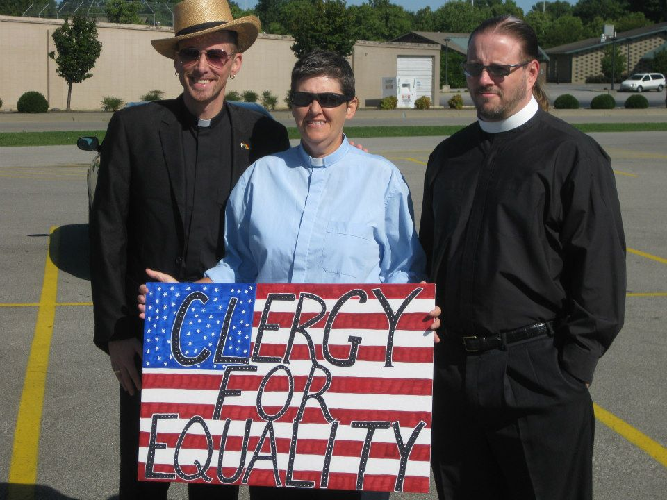 Rev. Bojangles Blanchard (Highland Baptist Church), Rev. Sherry Roby (Open Door Community Fellowship), and Rev. Derek Penwell (DBCC) at a public rally this summer.