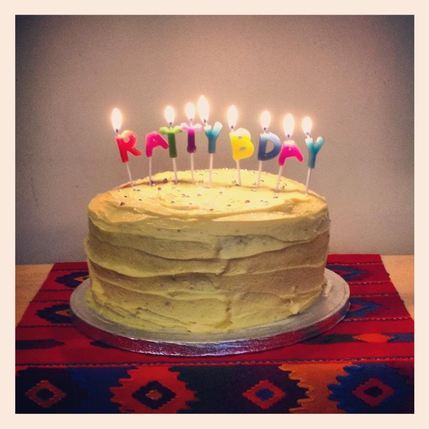 4 layer choc cake! Pablo decided the yellow icing...
