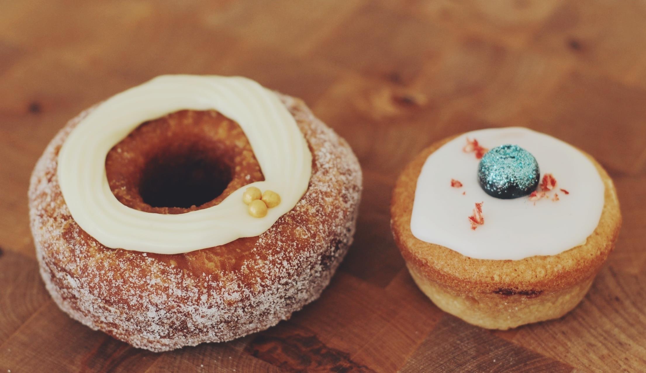A lemon cronut and a blueberry bakewell walk into a bar...