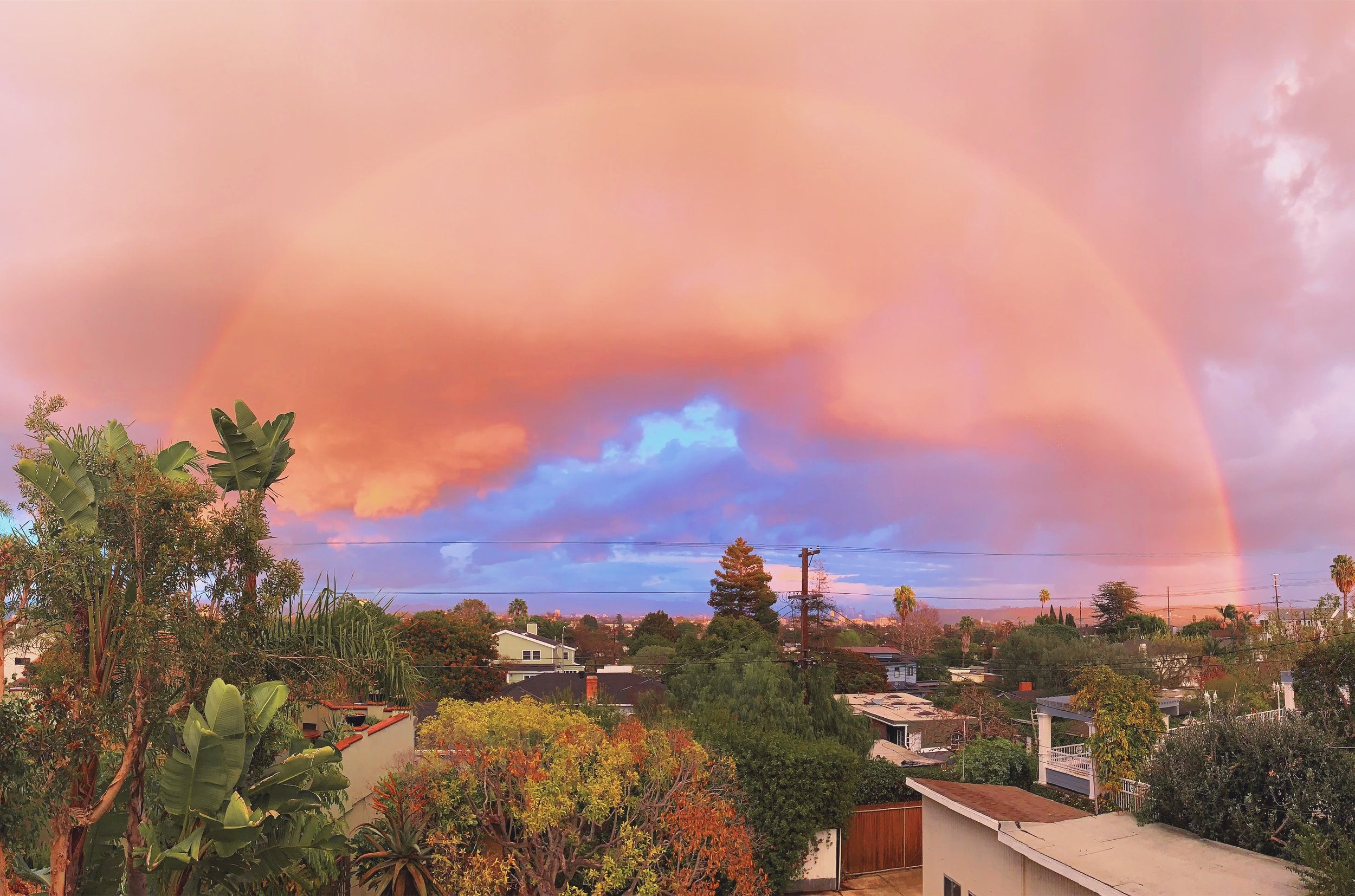 Rainbow sunset view from my bedroom is none too shabby…