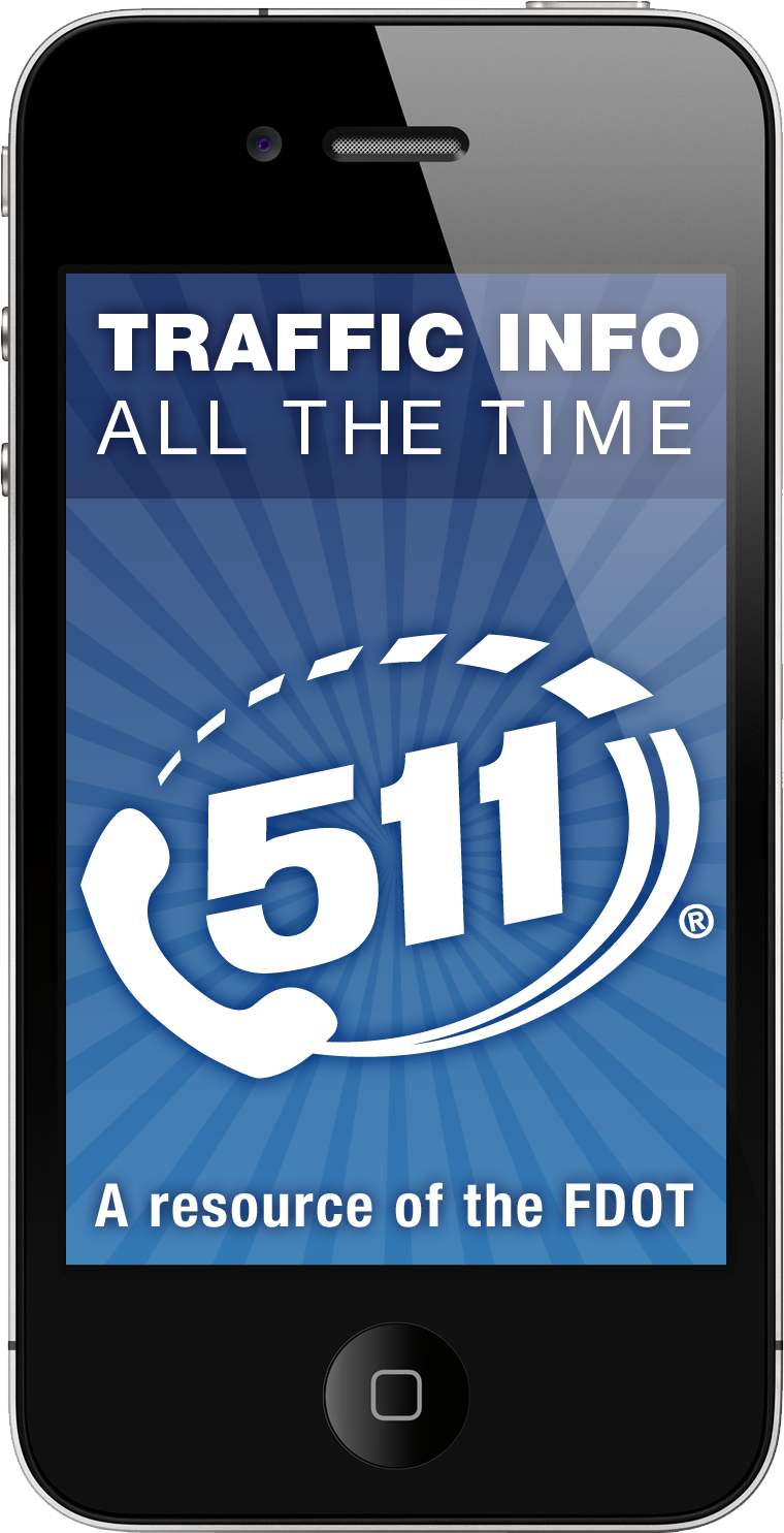 PHOTO: Picture of the 511 logo on a smartphone. (Photo Courtesy of FDOT)