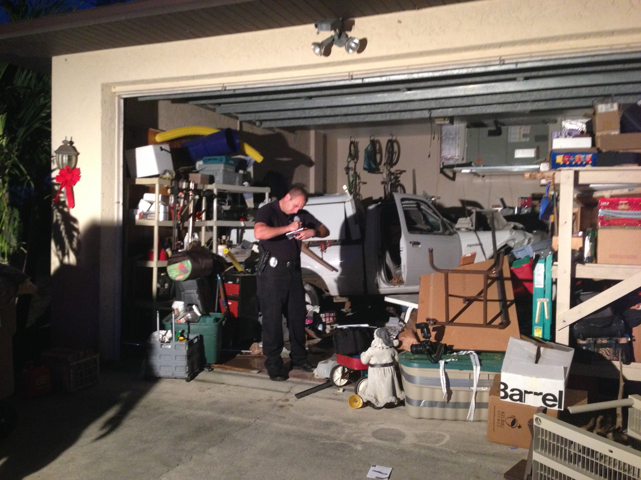 PHOTO: On December 19, 2013 at 4:27 PM,Cape Coral Police Department responded to a SW Cape Coral home where a driver crashed his white pickup truck into a home. (Photo Courtesy ofCape Coral Police Department)