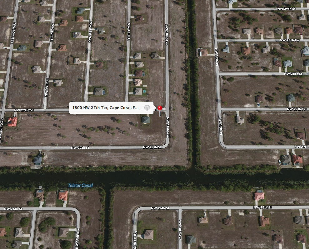 PHOTO: Hybrid aerial view of 1800 block of NW 27th Ter., Cape Coral. (Photo Courtesy of  Apple )
