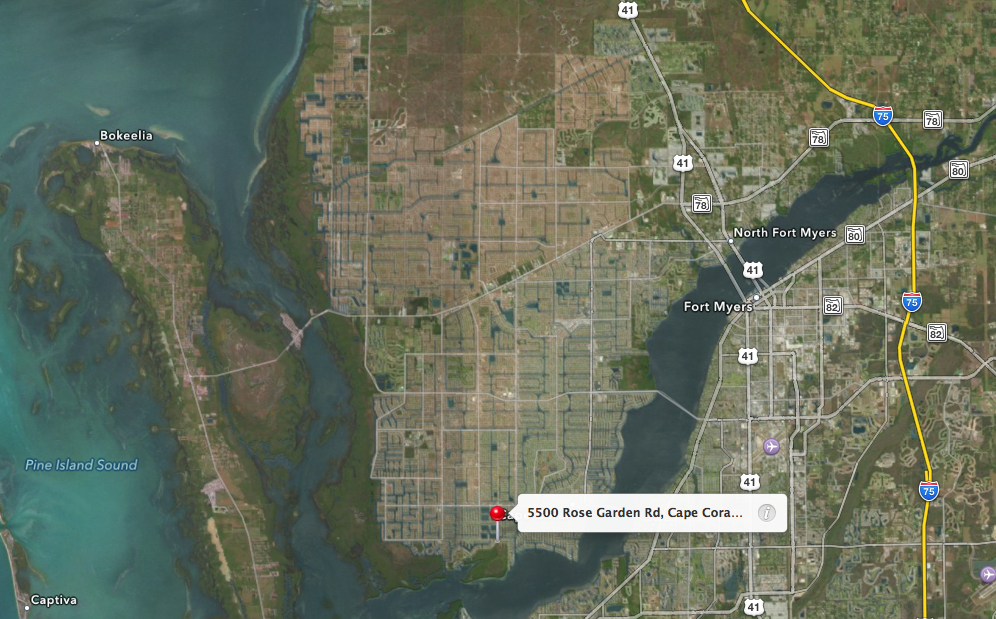 PHOTO:  Aerial map showing the location of Glover Bight Park in Cape Coral, FL.  (Photo Courtesy of  Apple )