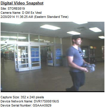 PHOTO: Stills from surveillance video show the suspect in a credit card fraud case exiting the Wal-Mart at 1619 Del Prado Boulevard S.. (Photo Courtesy ofCape Coral Police Department)