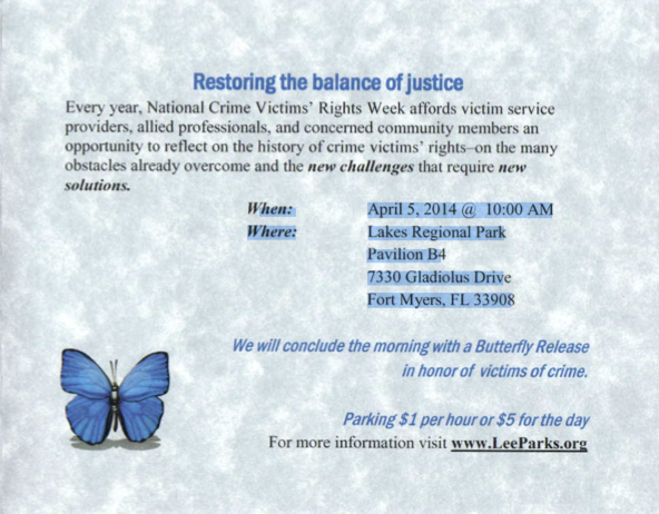 PHOTO: Photo of print invitation to the Kate Bryson Memorial Walk and Butterfly Release. Text from invitation is below. (Photo Courtesy ofCape Coral Police Department)