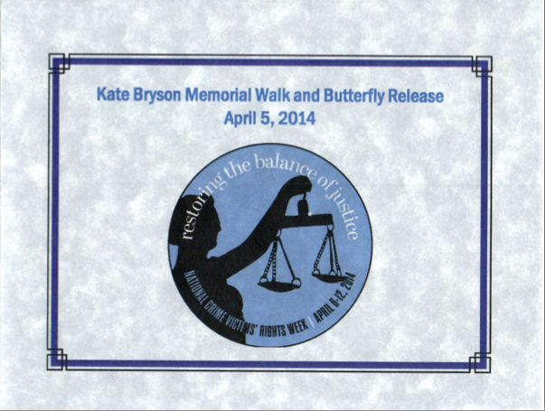 PHOTO: Photo of print invitation to the Kate Bryson Memorial Walk and Butterfly Release. Text from invitation is below. (Photo Courtesy of Cape Coral Police Department)