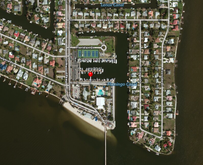 PHOTO: Aerial photo of the Cape Coral Yacht Club. Cape Coral Police Department is working a drowning in the area of the Yacht Club.. (Photo Courtesy of  Apple )