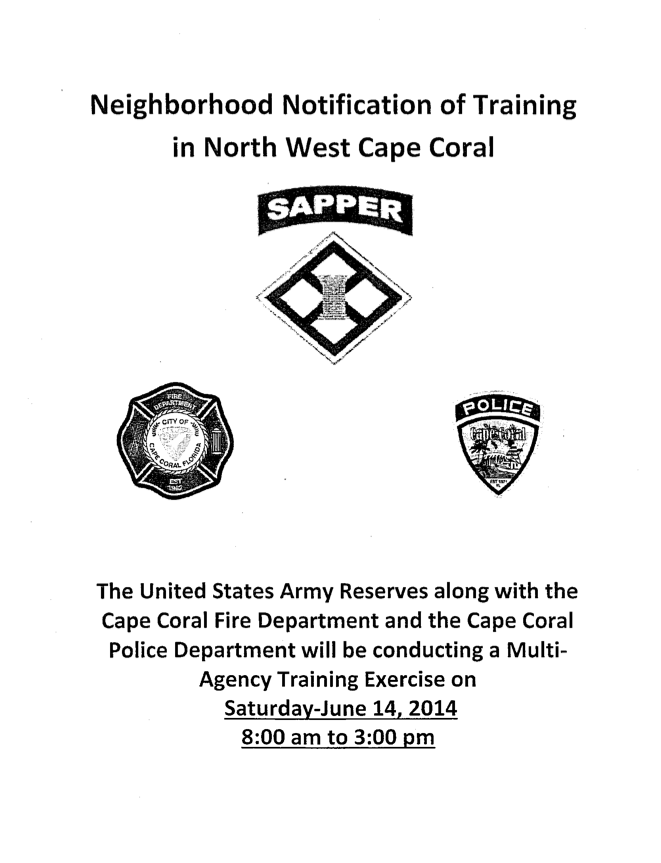 PHOTO:  Image of an informational flyer by the US Army Reserves, letting people know what to expect at this weekend's training exercise.  Click the photo to download PDF.  (Photo Courtesy of Cape Coral Police Department)