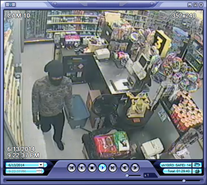 PHOTO: Surveillance camera stills depicting two black male suspects wearing ski masks, armed with handguns, entering and robbing the Dollar General Store located at 924 NE Pine Island Rd., Cape Coral. (Photo Courtesy ofCape Coral Police Department)