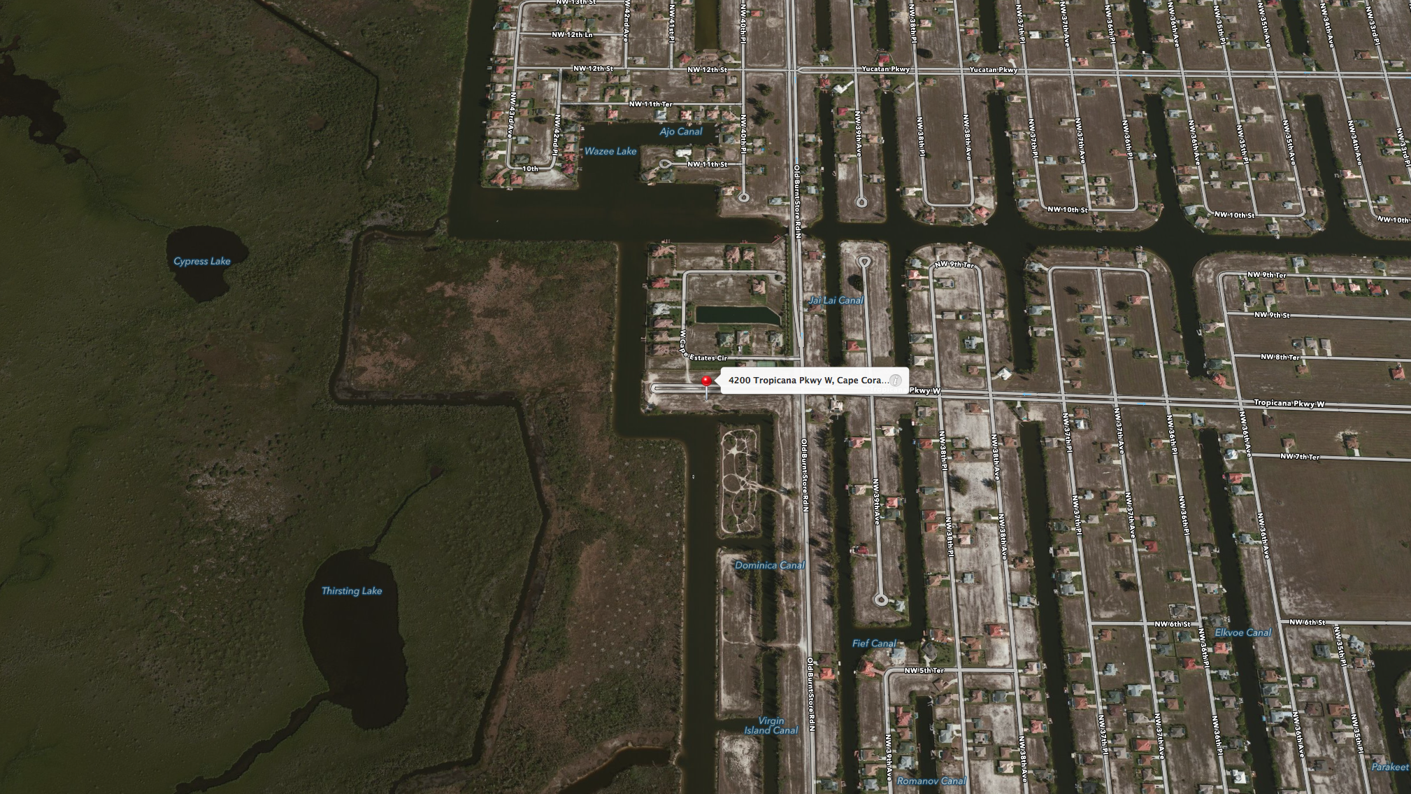 PHOTO: Aerial map of the crash location- 4200 Tropicana Parkway W., Cape Coral, FL. (Photo Courtesy of  Apple, Inc. )
