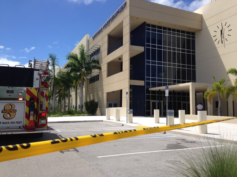 Cape Coral Police Department's lobby is temporarily closed due to a hazardous materials call at the lobby.