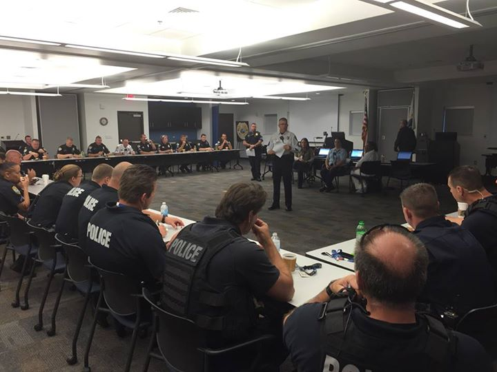 PHOTO: Sgt. Jon Kulko of the Cape Coral Police Department Traffic Unit conducts the pre-operational briefing before officers hit the streets. (Photo Courtesy of Cape Coral Police Department)