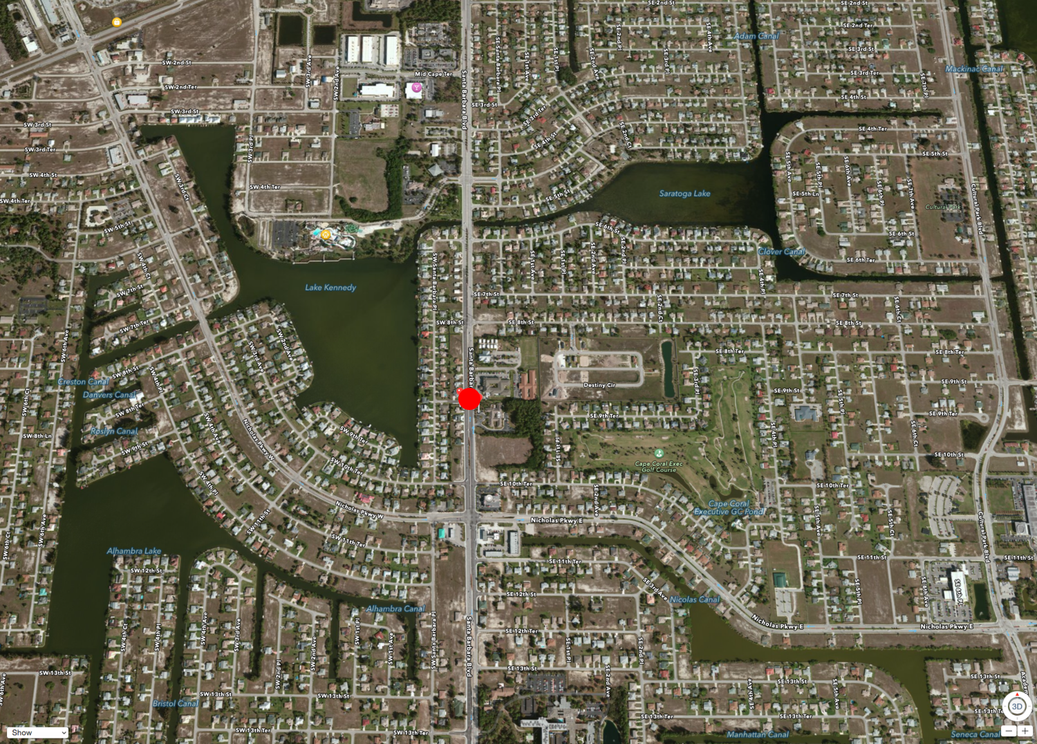 PHOTO: Approximate location of the crash shown on an aerial map. (Photo Courtesy of  Apple , Inc.)
