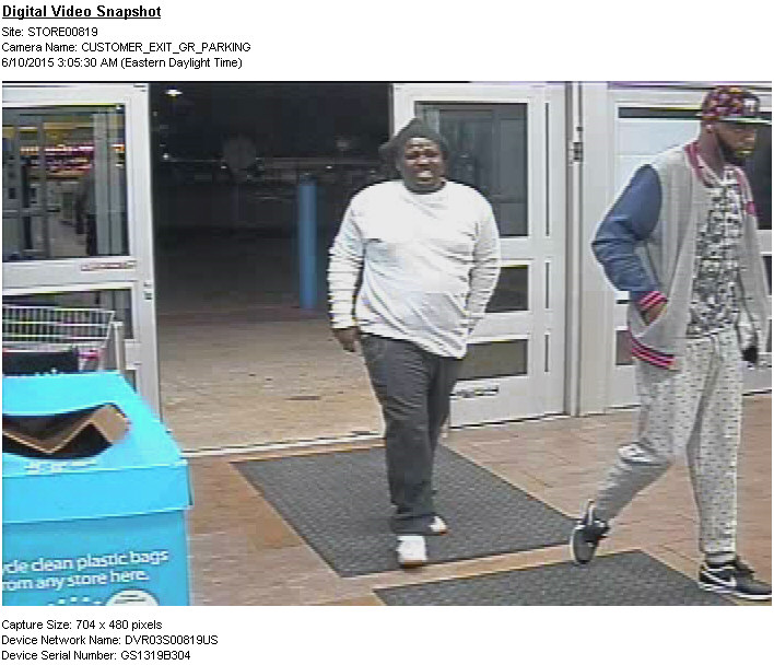 PHOTO: Surveillance footage showing 2 B/M suspects entering the Wal-Mart at 1619 Del Prado Boulevard S.. (Photo Courtesy of Cape Coral Police Department)