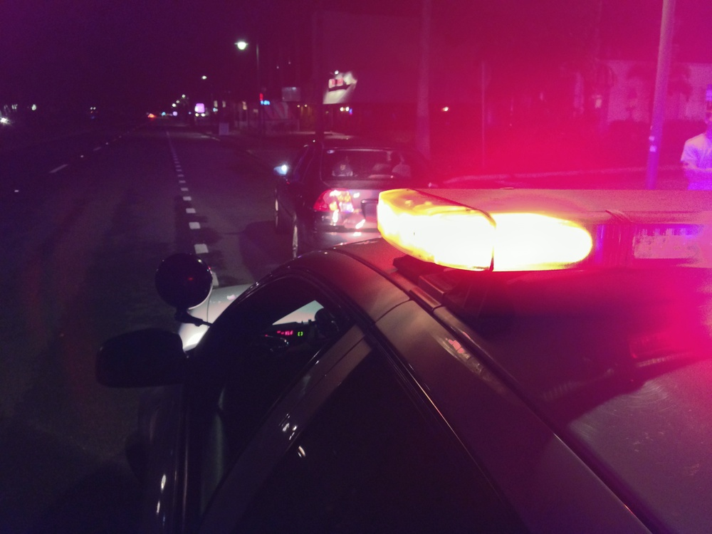 PHOTO:  The view of a traffic stop from outside of a police car.  (Photo Courtesy of Cape Coral Police Department)