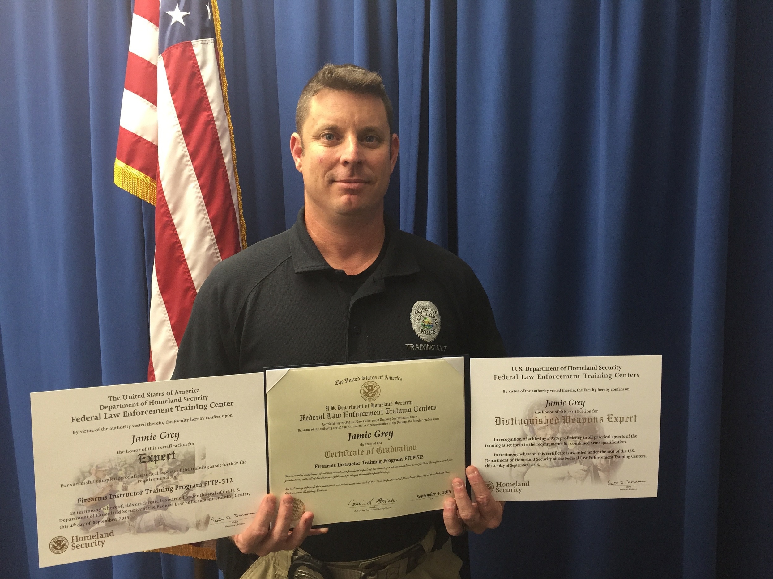 PHOTO: Detective Jamie Grey of the Cape Coral Police Department Training Unit graduated from the FLETC Firearms Instructor Course on September 4, 2015.  He was awarded the distinction of Firearms Expert and Distinguished Weapons Expert.  (Photo Courtesy of Cape Coral Police Department)