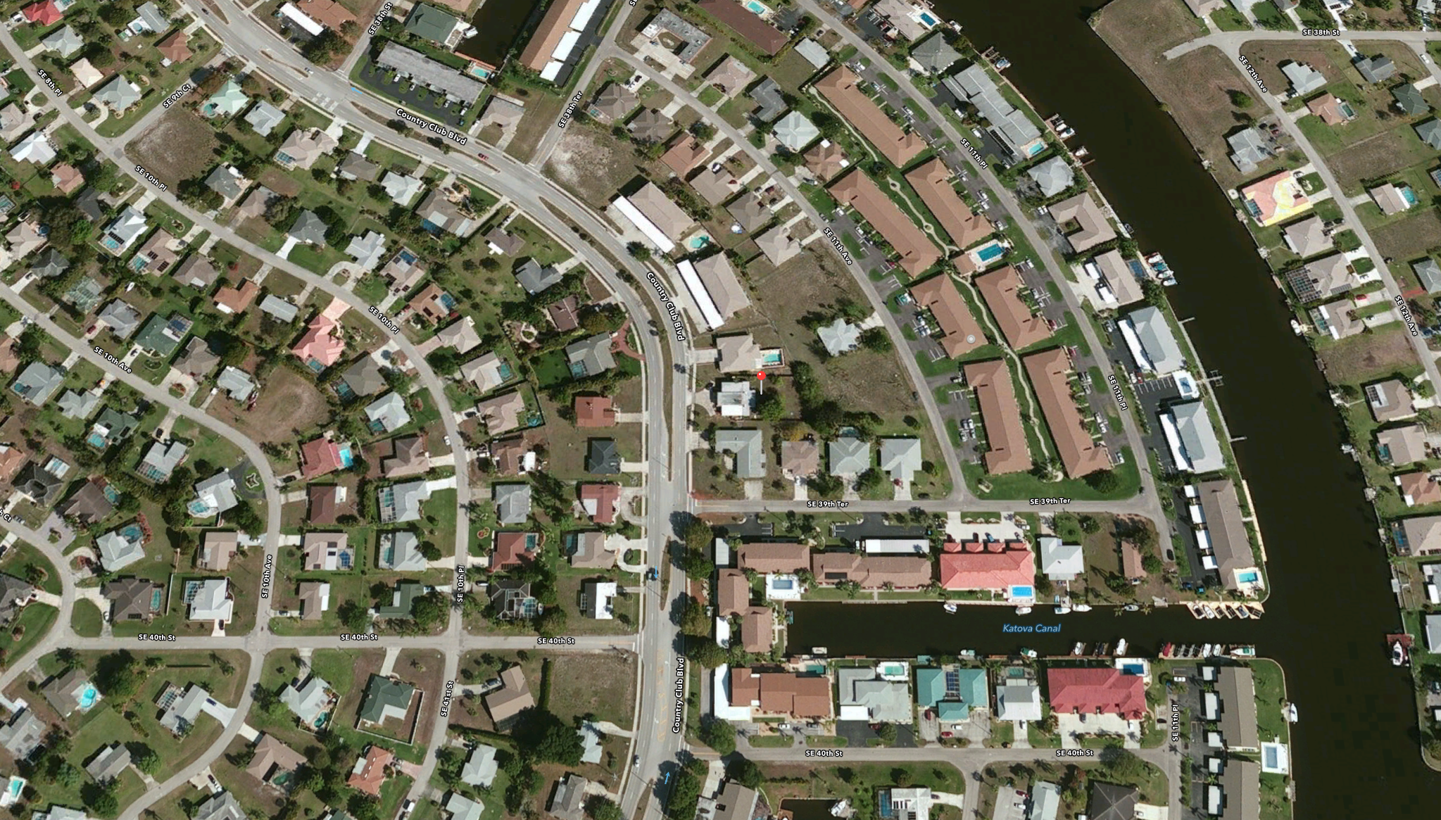 PHOTO: Aerial view of the approximate location of the fatality crash that occurred in the 3900 Block of County Club Boulevard. (Photo Courtesy of Apple, Inc.)