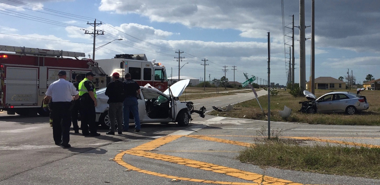 PHOTO:  A 2 vehicle crash yesterday afternoon sent two people to the hospital, one with life-threatening injuries.  (Photo Courtesy of Sgt. Jon Kulko, Cape Coral Police Department Traffic Unit)