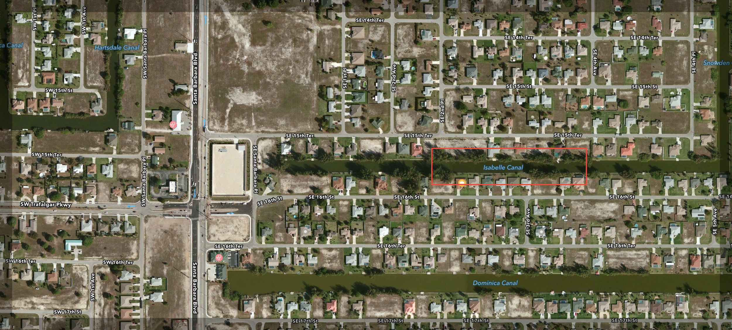 PHOTO: Map showing the area where the suspect, Wallie Julien, jumped into a canal. (Map Courtesy of  Apple, Inc. )