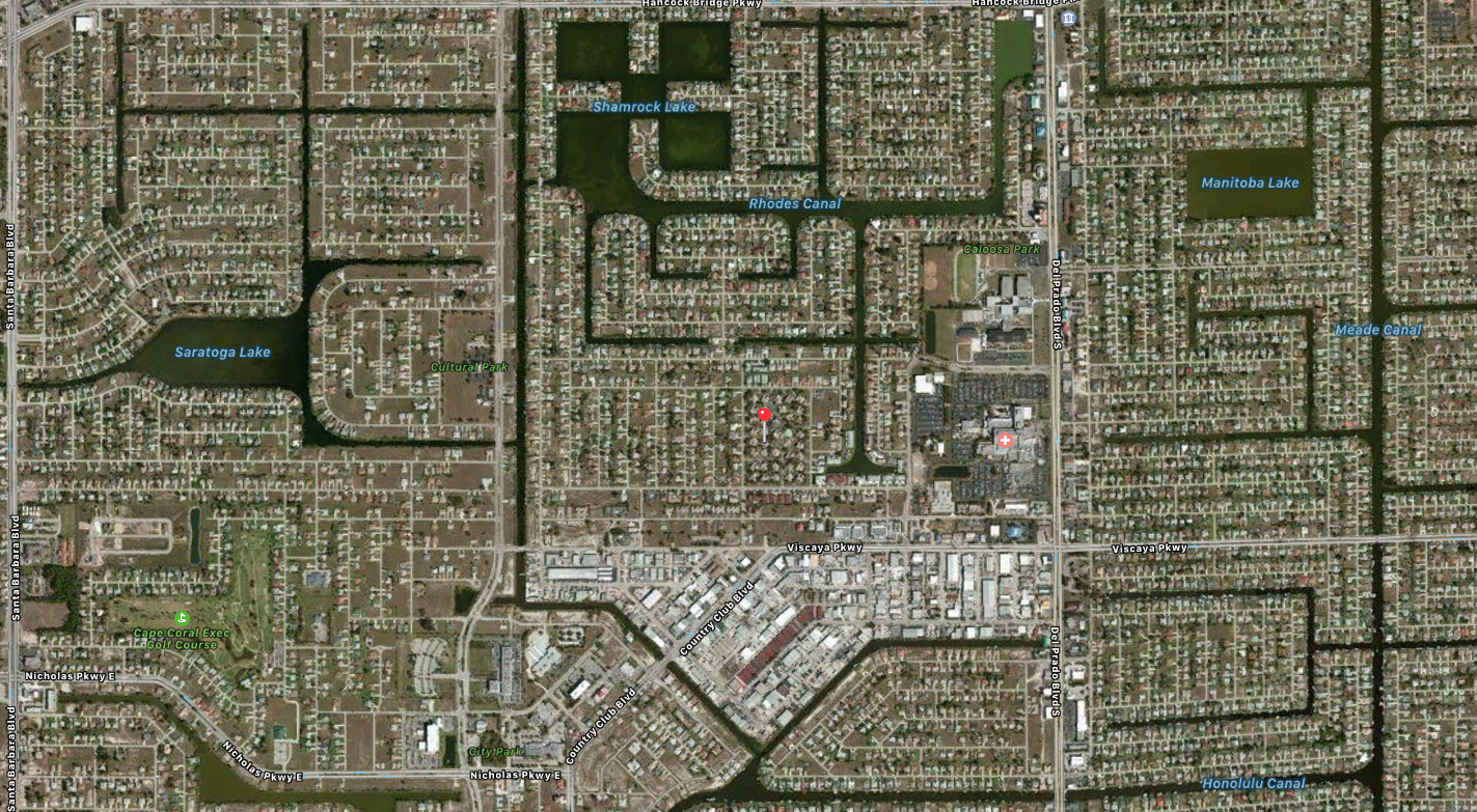 PHOTO: Aerial map showing the location of the Cornell-Story homicide. (Photo Courtesy of Apple, Inc.)