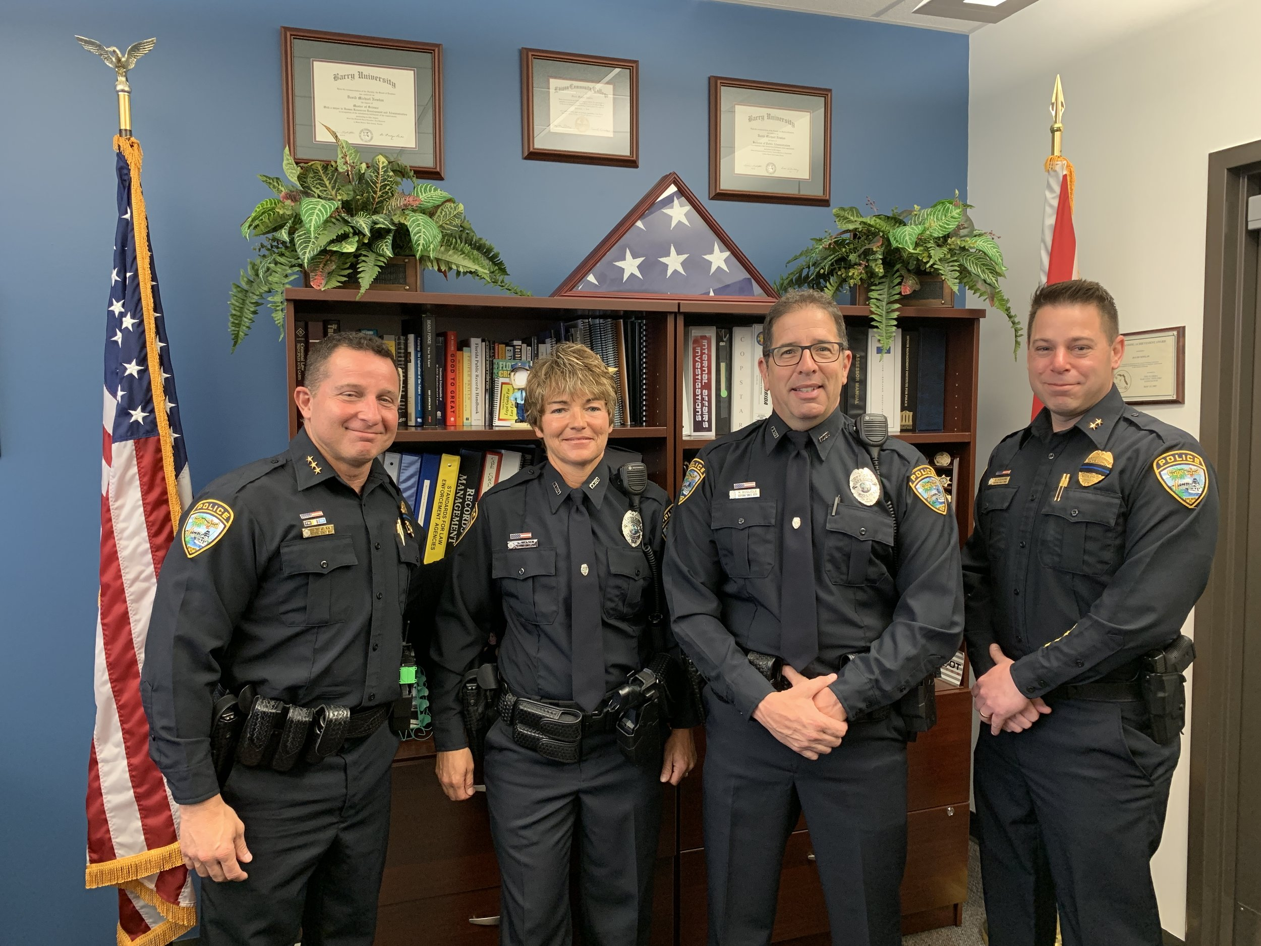 From Left to Right: Chief Dave Newlan, Officer Lori Nielsen, Officer Michael Bogliole, and Deputy Chief Anthony Sizemore