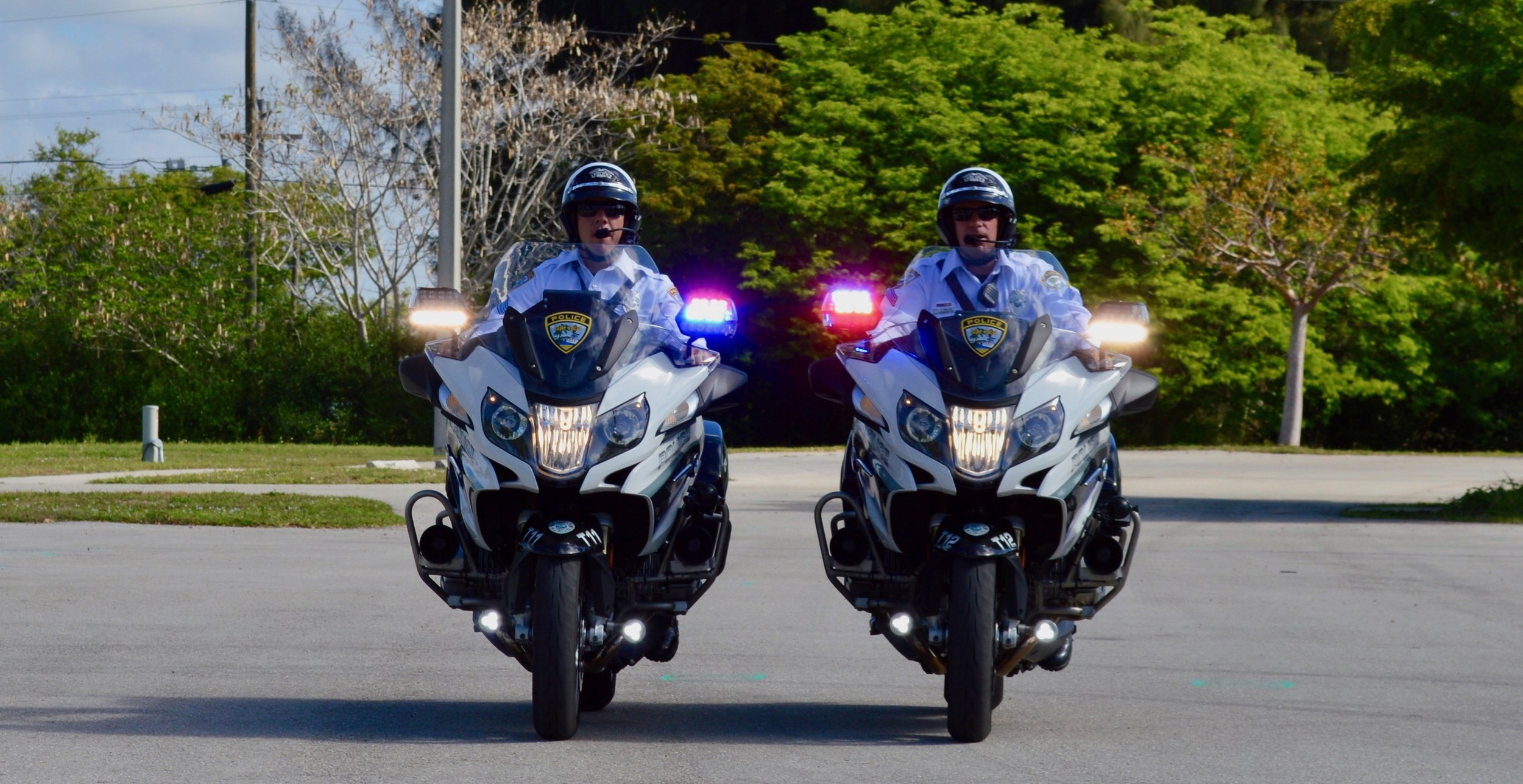 A few of CCPD's motor units rolling on the department's BMW R1200s.