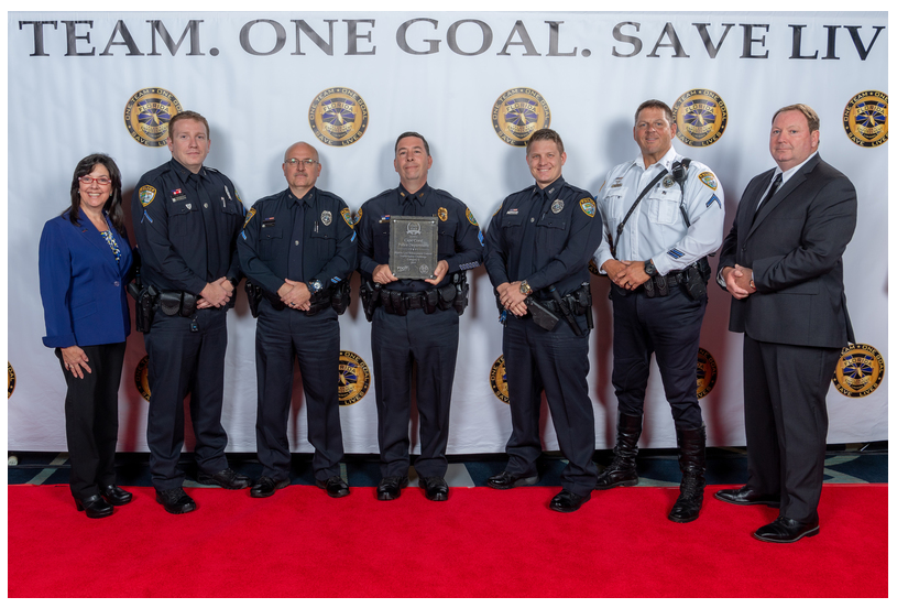 From L to R: FDOT Chief Safety Officer Lora Hollingsworth; CCPD Patrol Officer & Drug Recognition Expert (DRE) Ryan Martini; CCPD Traffic Officer/Major Crash Investigator Danny Gray; CCPD Traffic Unit Sergeant James Lear; CCPD Patrol Officer Justin Myers; CCPD Traffic Unit Motor Officer Paul Martin; Florida Law Enforcement Liaison (LEL) Tom Arsenault.
