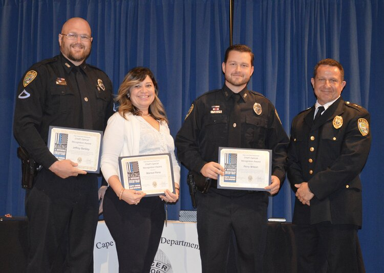 Officer Jeffrey Barkley, Victim's Advocate Marisol Pena, Officer Perry Wilson (Chief's Special Recognition Award)