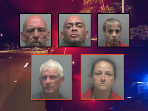 Top row (Arrested): John Kaiser, Carl Crowe, Amy Sigears   Bottom row (Wanted): Thomas Bartley, Denise Maggi