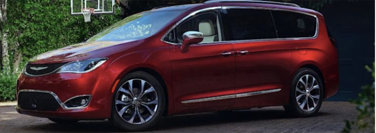 Example photo of red 2018 Chrysler Pacifica  (NOT ACTUAL VEHICLE)