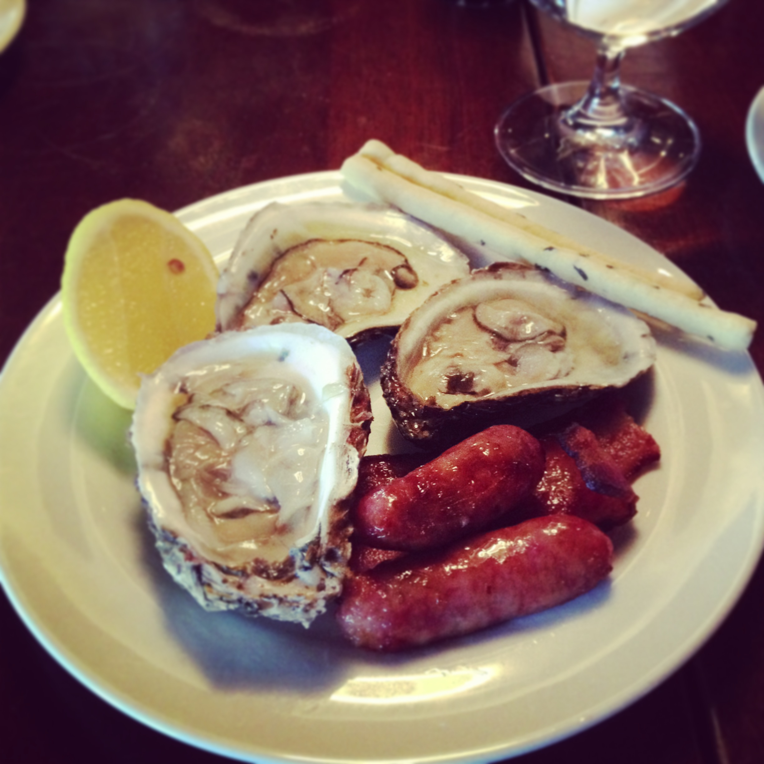 Oysters and breakfast sausages.JPG