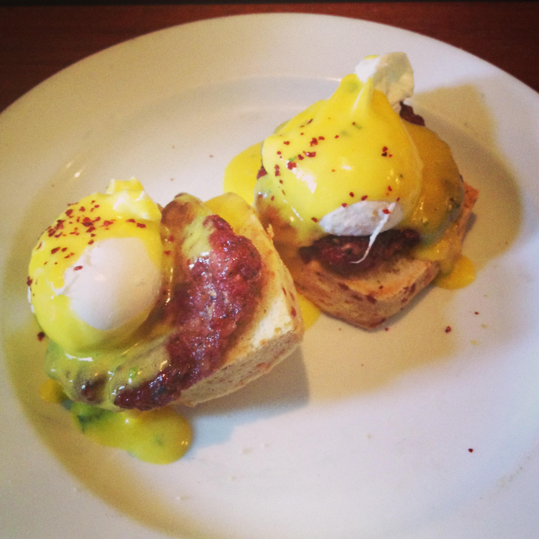 Breakfast sausage Benedict.JPG