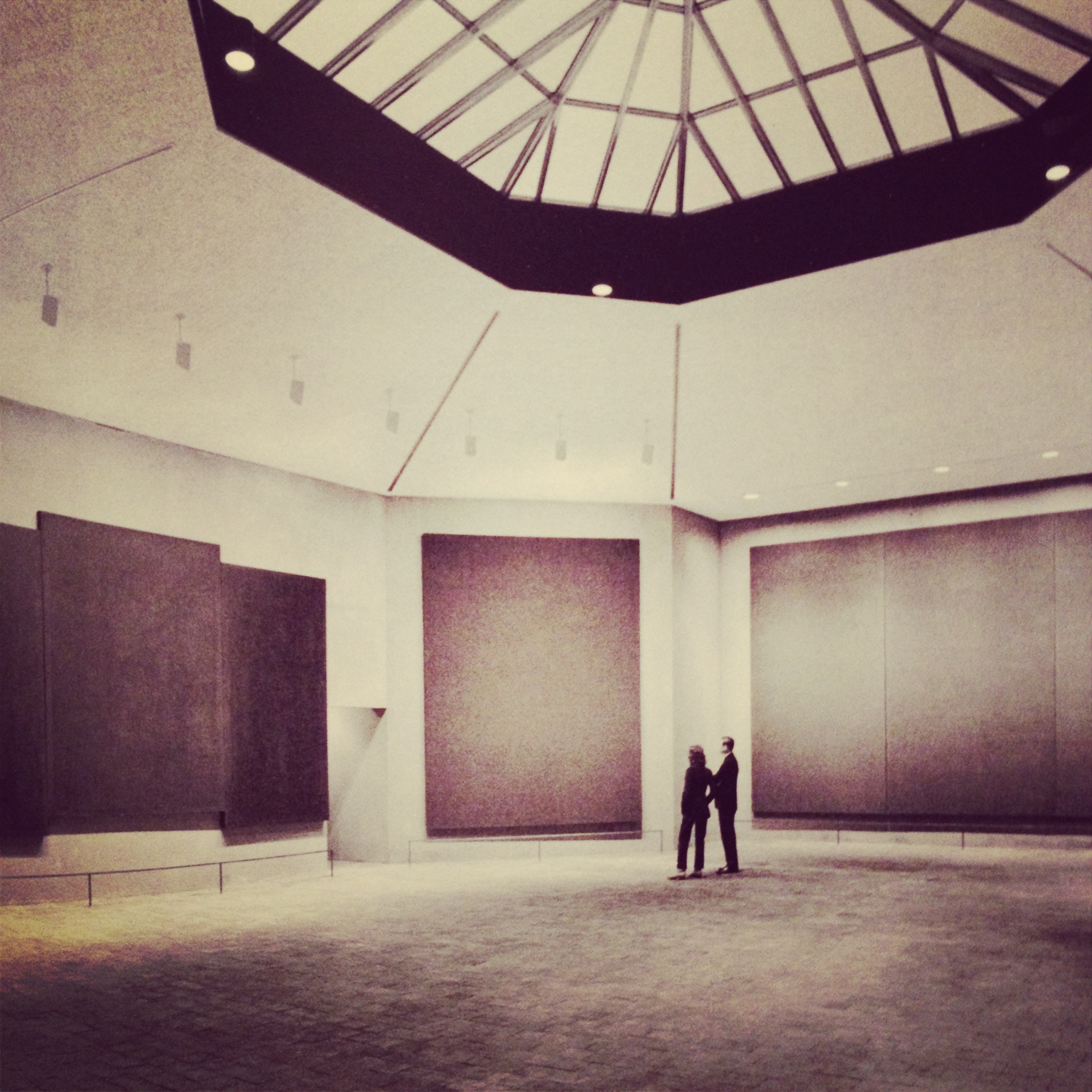 This image was taken from the book  The Rothko Chapel: An Act of Faith  by Susan J. Barnes as no photos are allowed inside.