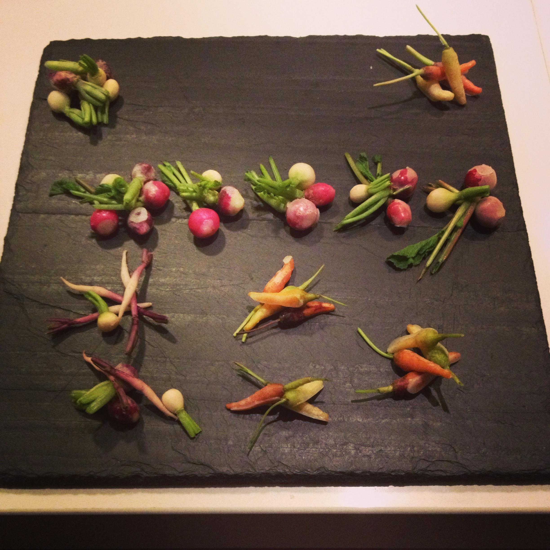 Hors d'Oeurvre: Miniature Vegetables Dipped in Lavender Butter
