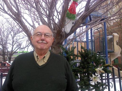 Our friend Jerry in front of the park he decorate this year for Christmas!!!