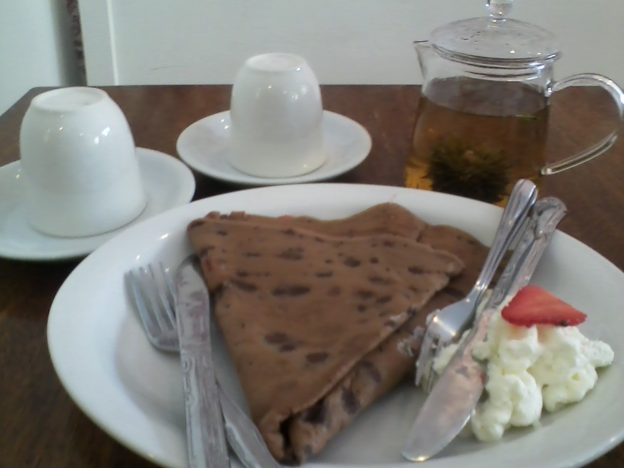 Blooming rose tea and chocolate crepes. Bring a friend! Buy any crepe or bakery item and get 50% off another of equal or lesser value. LIMITED TIME ONLY!