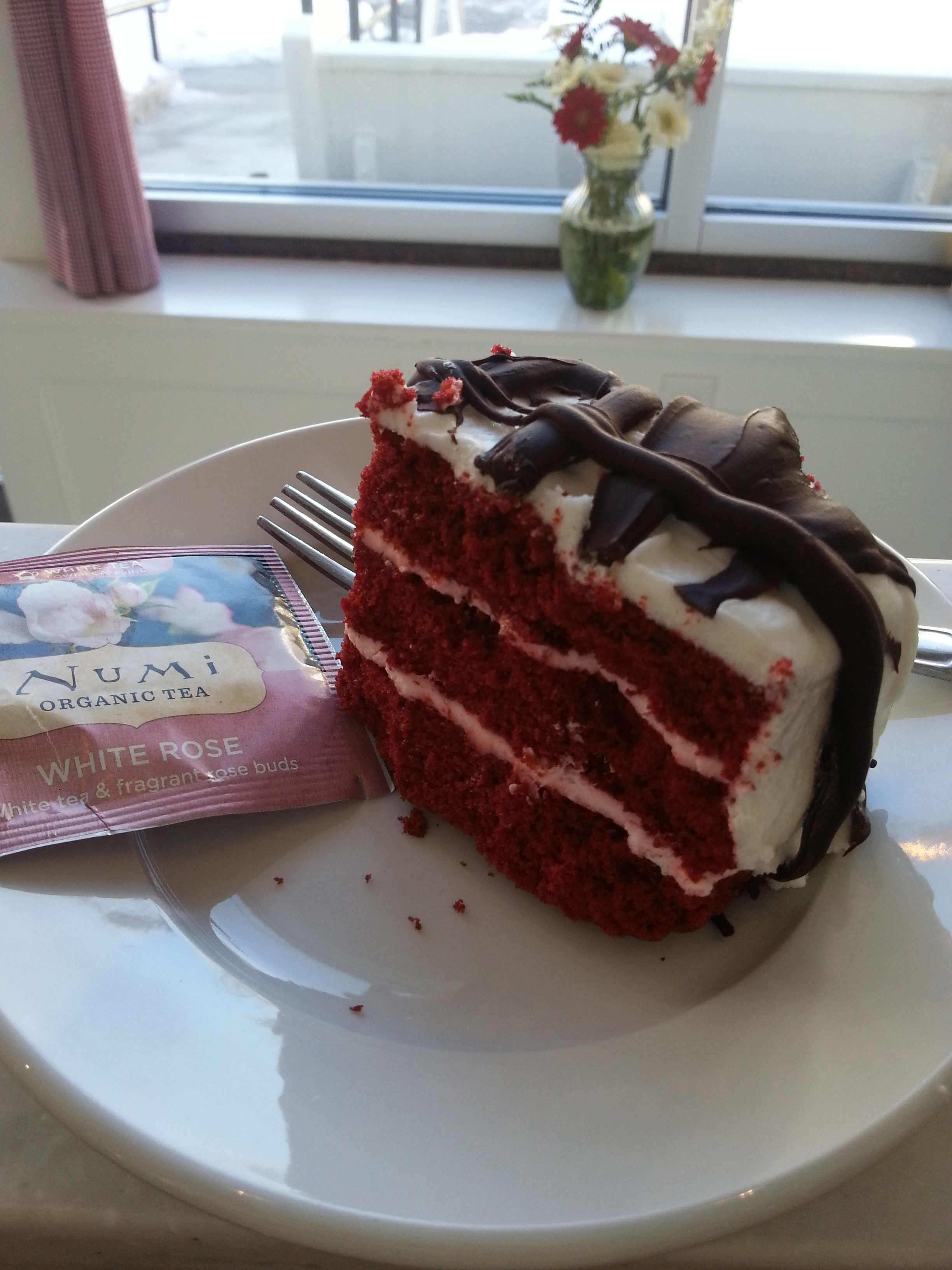 Numi Fair Trade Organic White Rose Tea and Red Velvet Cake with Whole Foods' Semi-Sweet Chocolate!